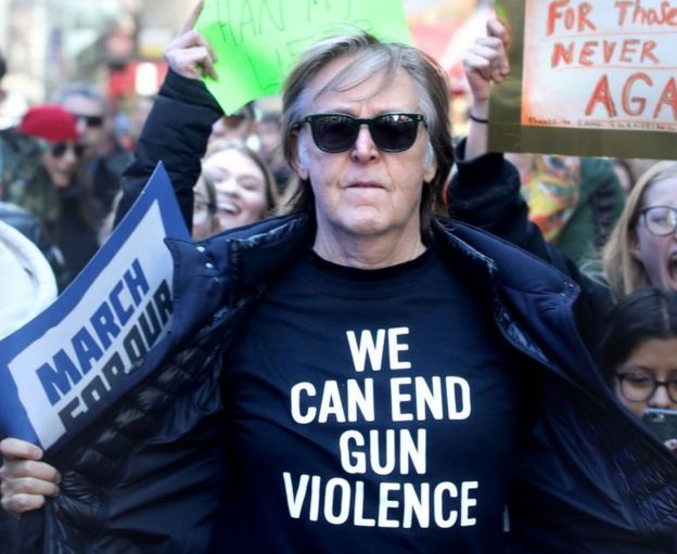McCartney at the gun control protest, sporting a 'We can end gun violence' t-shirt