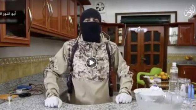 Jihadist explaining how to make explosives in the kitchen