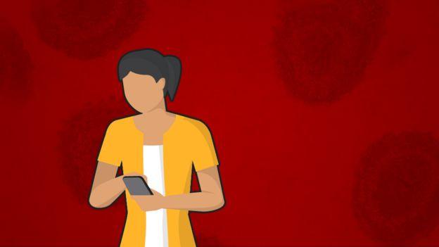 Ilustração de mulher olhando o celular