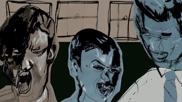 Ilustración con caras de niños enojados.