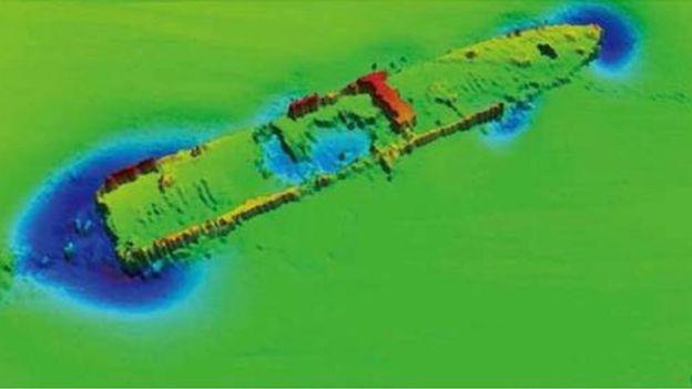 """兩次海洋探測中得到的""""里斯本丸""""沉船位置聲納圖"""