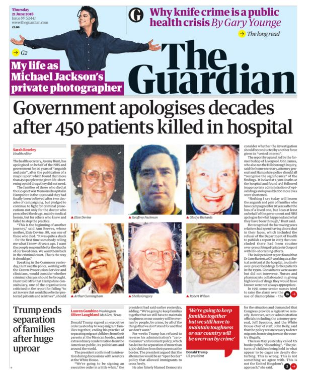 Guardian front page - 21/06/18