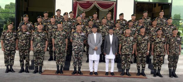 Defense Minister and Nepal Army officials