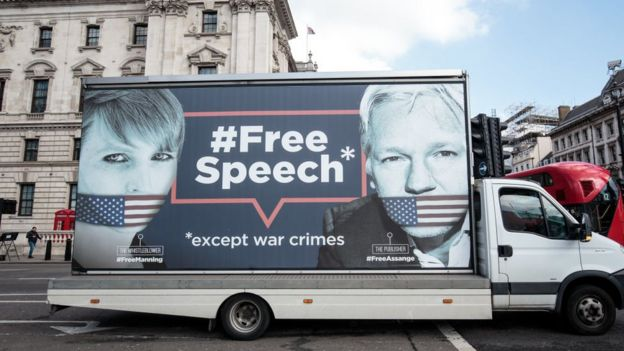 A van supporting Manning and Assange seen in London last week.