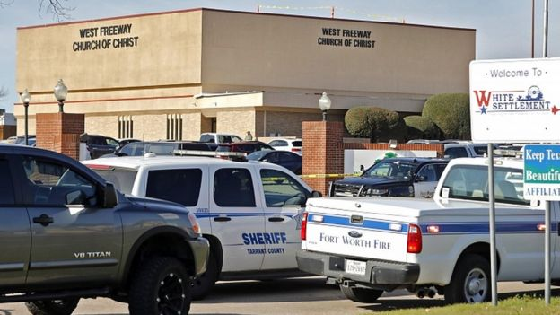 Police cars outside West Freeway Church of Christ where a shooting took place at the morning service on December 29, 2019 in White Settlement, Texas