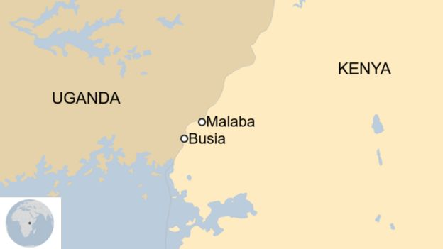 A map of Kenya and Uganda showing the towns of Malaba and Busia.
