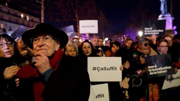 Protestors during a rally in Paris' Place de la Republique