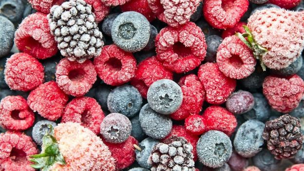 frozen berries: blueberries, raspberries, mulberries and strawberries