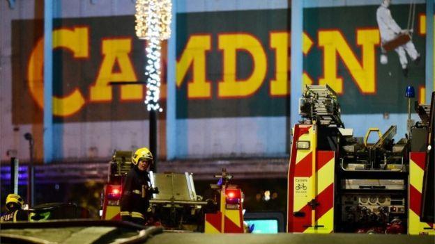 Fire crews near the Camden Lock railway bridge