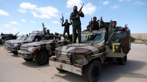 Hafter'e bağlı Libya Ulusal Ordu kuvvetleri