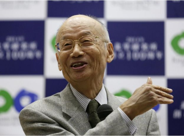 Japanese scientist Satoshi Omura speaks to the media while celebrating the announcement that he was winning the 2015 Nobel Prize in Medicine, at the Kitasato University, in Tokyo, Japan, 5 October 2015.