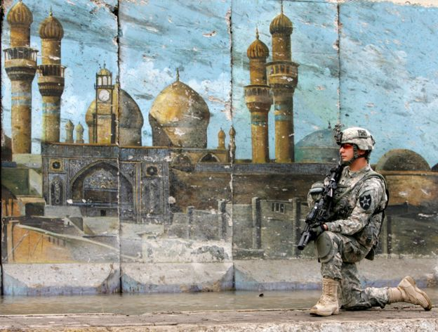 Un soldado de Estados Unidos en Bagdad.