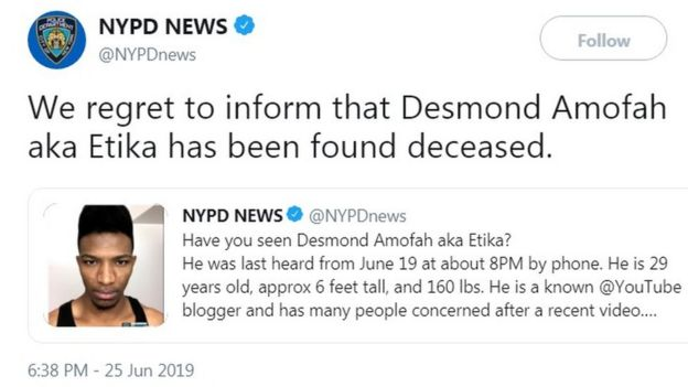 Body Is Found Following Search For Missing YouTuber Desmond
