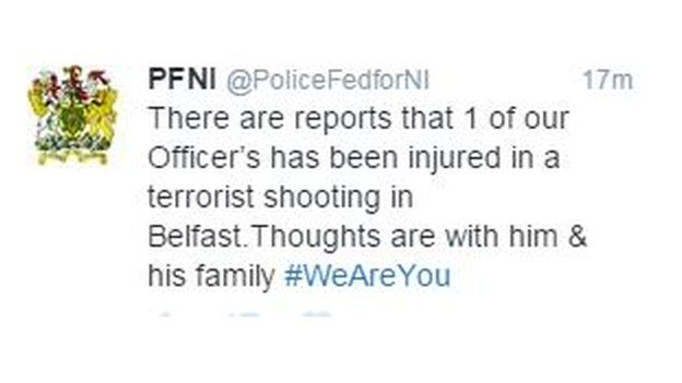 The Police Federation of Northern Ireland has tweeted about the shooting