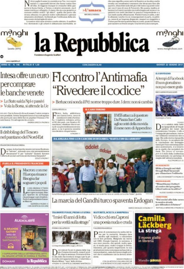 La Repubblica gazetesinin bugünkü ilk sayfası