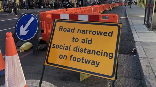 Temporary walking infrastructure set up on British roads during the coronavirus lockdown