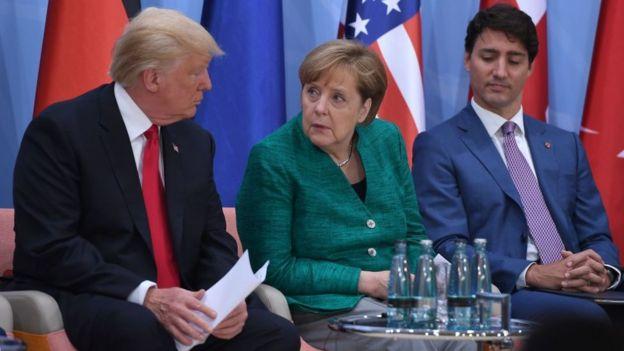 Trump y Merkel, en una cumbre del G20 en Hamburgo.