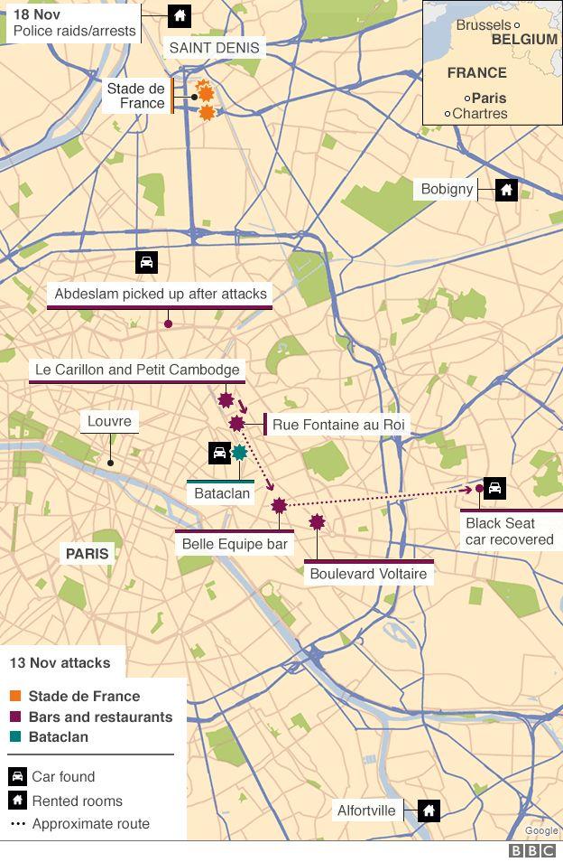Paris attacks and police raids - map