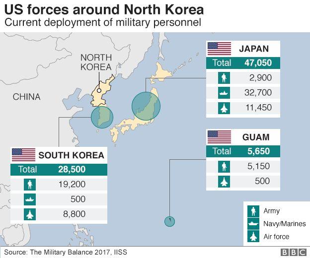 Map: US forces around North Korea