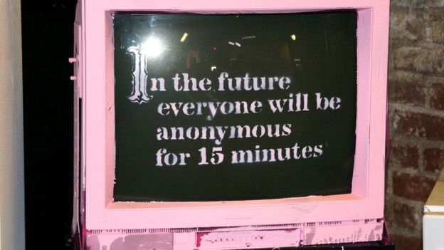 "The pink TV displaying the logo: ""in the future everyone will be anonymous for 15 minutes"" from Banksy's Barely Legal show in LA in 2006"