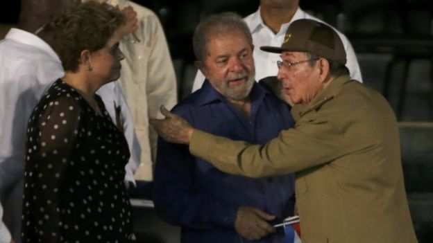 Former Brazilian Presidents Dilma Rousseff and Luiz Inacio Lula da Silva were greeted by Raul Castro in Revolution Square.