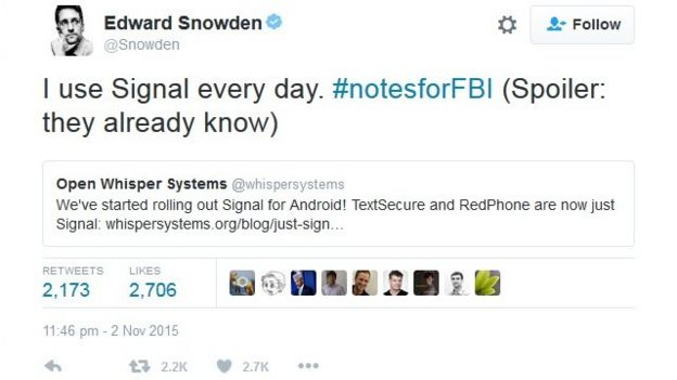 Tuíte de Edward Snowden