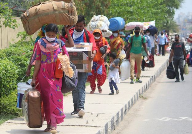 Migrant workers in India's capital Delhi during a government-imposed nationwide lockdown