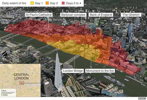 Lane Fire Map.Five Ways The Great Fire Changed London Bbc News