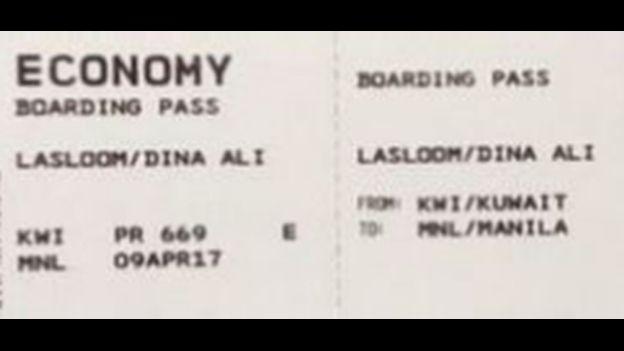 Boarding pass from Dina Ali Lasloom