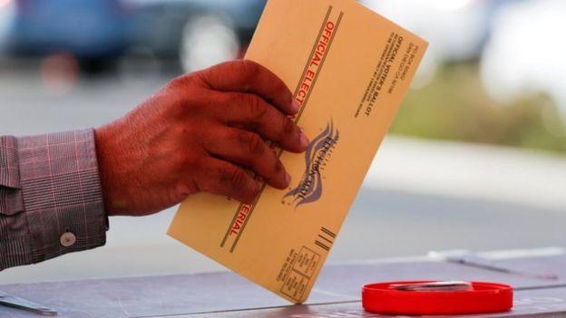 A mail-in ballot in California. File photo