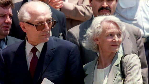 Former East German President Erich Honecker pictured with his wife Margot Honecker in 1993 at Santiago Airport in Chile.