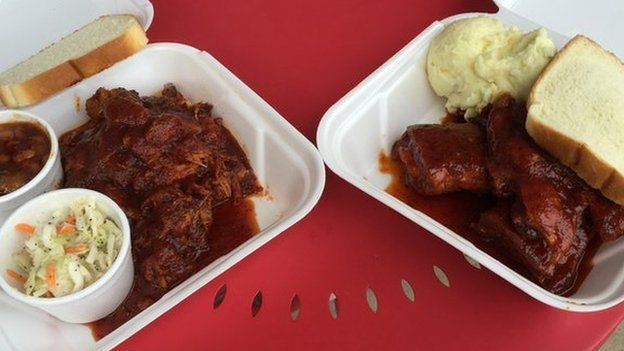 Barbecue rib tips and the combination rib tip-pig snout sandwich
