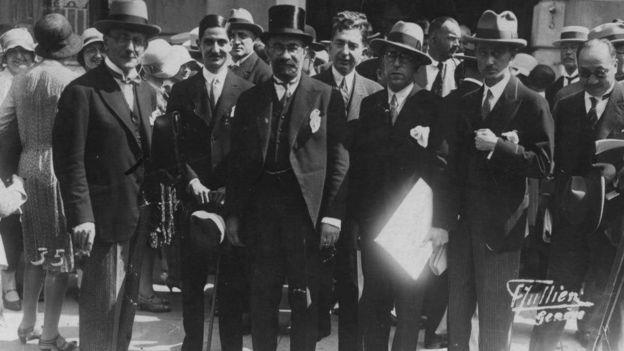 فروغی و هیئت ایرانی شرکت کننده در اجلاسیه عمومی جامعه ملل، ژنو ۱۹۳۰