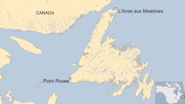 Map showing location of Point Rosee and L'Anse aux Meadows