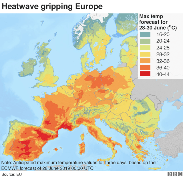 Map Of France And Europe.European Heatwave France Hits Record Temperature Of 45 9c Bbc News