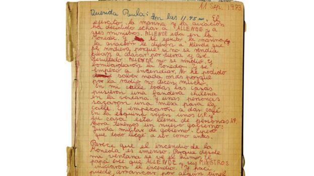 Hoja del diario de Francisca