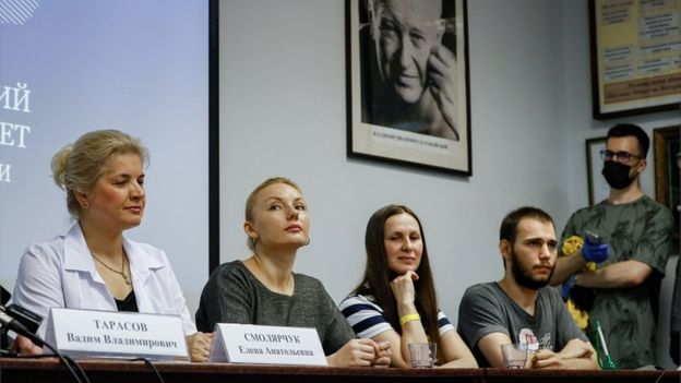 A news conference at the Science and Practice Center for Interventional Cardioangiology in Moscow, Russia, 15 July 2020