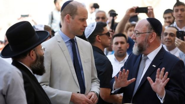 The Duke of Cambridge with Western Wall chief Rabbi Shmuel Rabinovitch (left) and British chief Rabbi Ephraim Mirvis