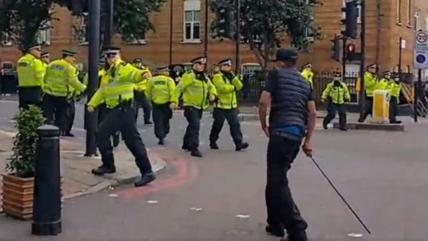 Police at protest