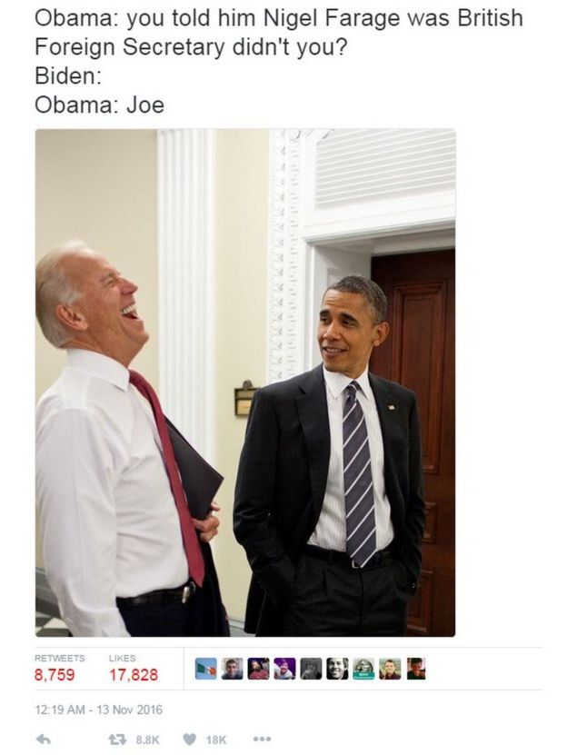 _92427887_7c28f603 e041 4e29 9bef 5d94505acc92 biden and obama memes jokes on trump imagined bbc news