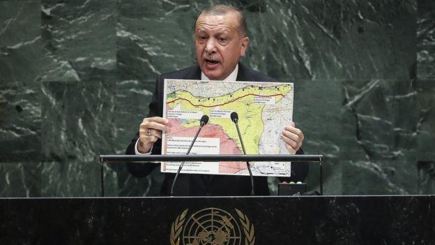 O presidente turco falando na sede das Nações Unidas em Nova York