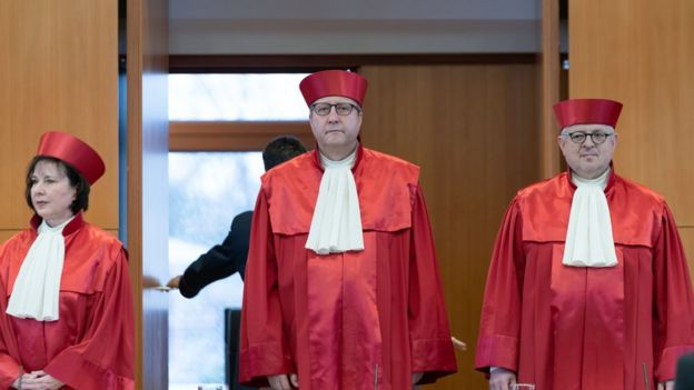 Members of the German Federal Constitutional Court's second senate and its presiding judge, Andreas Vosskuhle