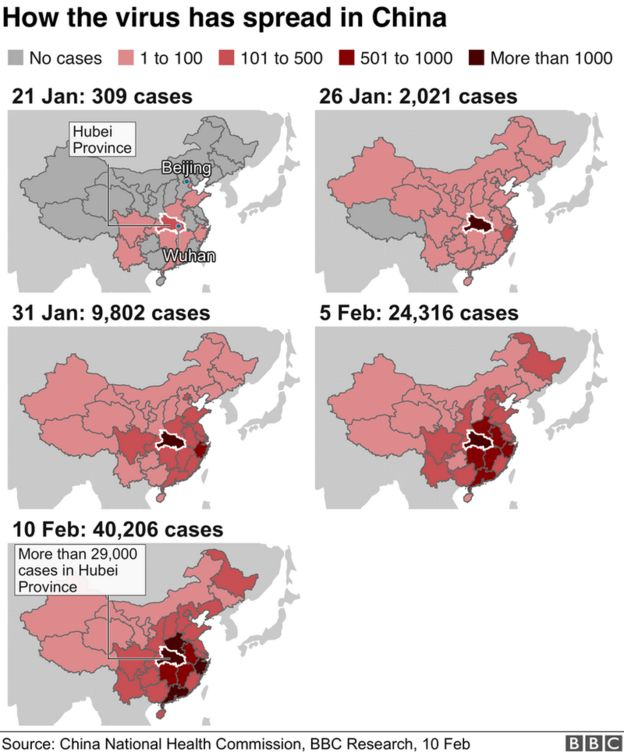 Map of how the virus spread in China