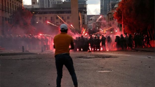 Protestors angry about corruption faced police in Beirut on Monday