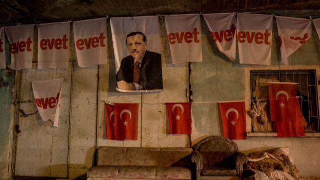 2017'deki anayasa değişikliği referandumu döneminde Konya'da çekilmiş bir fotoğraf