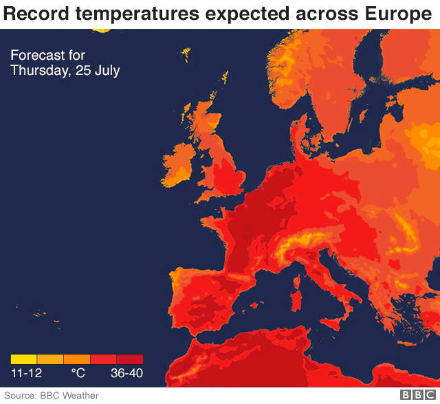 Map of Europe temperatures