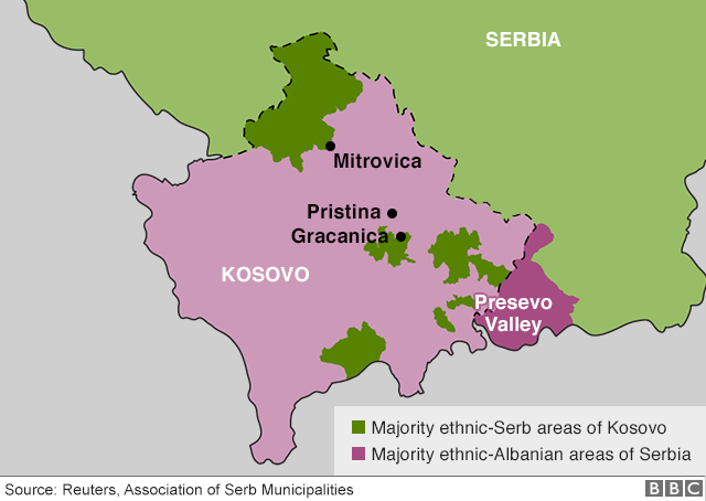 Kosovo-Serbia talks: Why land swap could bridge divide - BBC News on sweden border map, czech republic border map, latvia border map, europe border map, france border map, afghanistan border map, vatican city border map, hungary border map, mexico border map, gaza border map, russia border map, kazakhstan border map, monaco border map, vietnam border map, sudan border map, venezuela border map, hong kong border map, bulgaria border map, bermuda border map, greece border map,