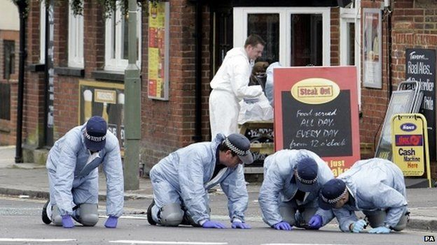 Police forensics team searching outside The Railway Tavern