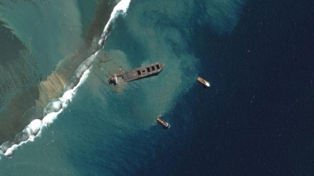 MV Wakashio as it breaks up - satellite image