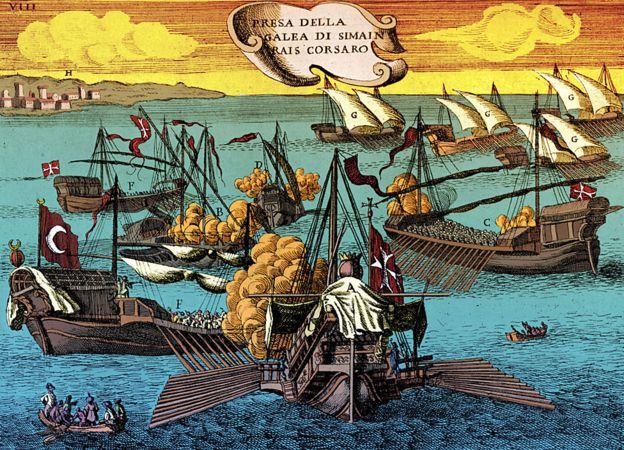 Enfrentamiento entre galeras toscanas y corsarios de Berbería.